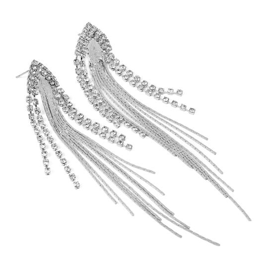 Riah Fashion Center Chain Fringe Earrings