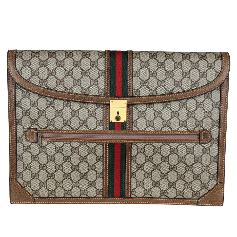 c4f0a79bc795 Gucci Webby Clutch Like New Gg Leather Vintage 6999 Brown Coated Canvas  Weekend/Travel Bag