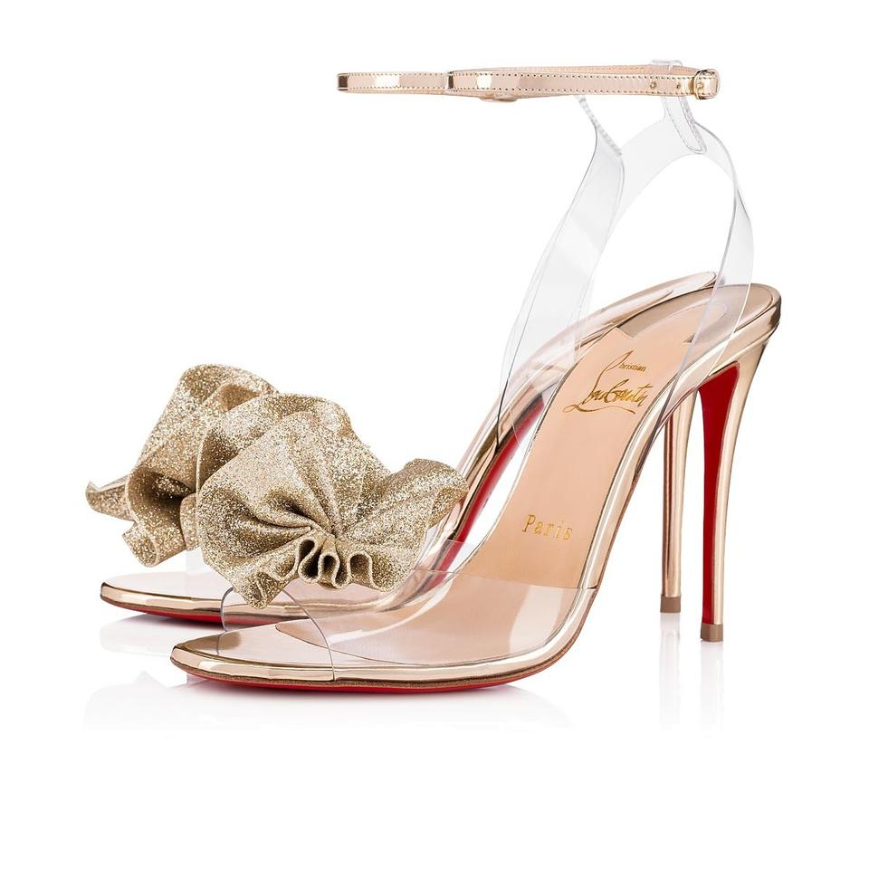 229a57545874 Christian Louboutin Flower Ankle Strap Pvc Rosette Gold Sandals Image 0 ...