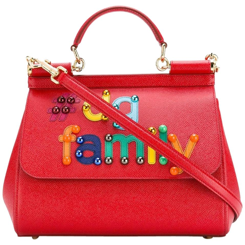 10226a97eead Dolce Gabbana Medium Dg Family Patch Sicily Shoulder Red Leather ...