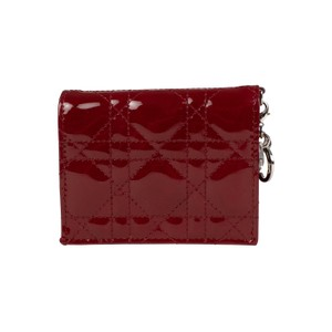 Dior Cherry Red  Lady Dior  Patent Leather Cannage Wallet 0f76d4fe3d