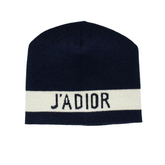 Dior 'JA'DIOR' Marine Blue And White Knit Hat Image 5