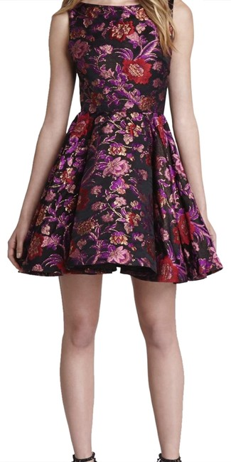 Item - Purple Multi Cut-out Back and Flare Short Formal Dress Size 8 (M)