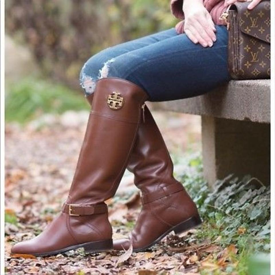ff0a100b8461 Tory Burch Brown Adeline Almond Tumbled Leather Reva Wide Calf Riding Zip  Boots Booties Size US 11 Regular (M