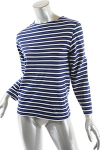 Saint James Made In France Stripe Boatneck T Shirt Navy White