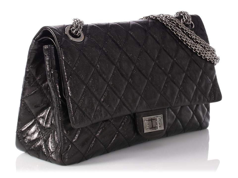bee7f78d7c9f03 Chanel 2.55 Reissue **sold Aff**reissue 228 Quilted Distressed Black  Calfskin Leather Shoulder Bag
