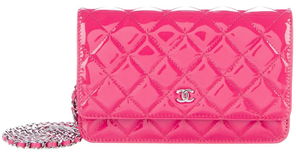 62404259881e Chanel Wallet On A Chain WOC Pink Patent Quilted CC Logo Cross Body Mini Bag  Image ...