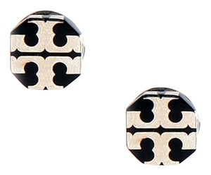 Tory Burch Brand New! Tory Burch Stretched T Logo Stud Earrings Silver Black