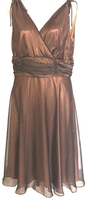 Patra Brown Double Layer Empire-waist Mid-length Formal Dress Size Petite 12 (L) Patra Brown Double Layer Empire-waist Mid-length Formal Dress Size Petite 12 (L) Image 1