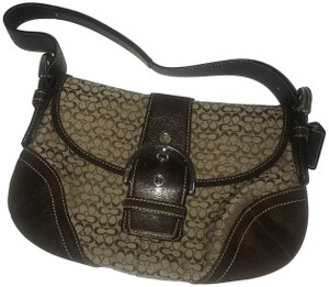 Coach Hobo Suede Monogram Leather Brown Clutch