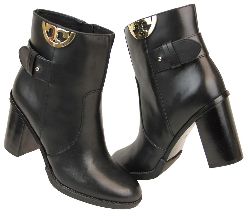 7a7dfc537754 Tory Burch Black Sidney Leather Gold Half Reva Strap Ankle Boots ...