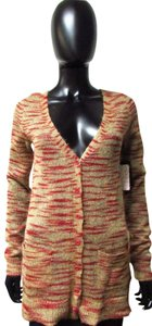 Free People Casual Button Long Sleeve Tiger Animal Print Sweater