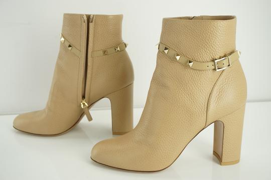 d951fecf7f0f Valentino Beige Rockstud Camel Pebbled Leather Ankle Boots Booties ...