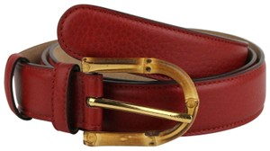 Gucci Women's Rose Red Leather Belt With Bamboo Buckle 90/36 322954 6227