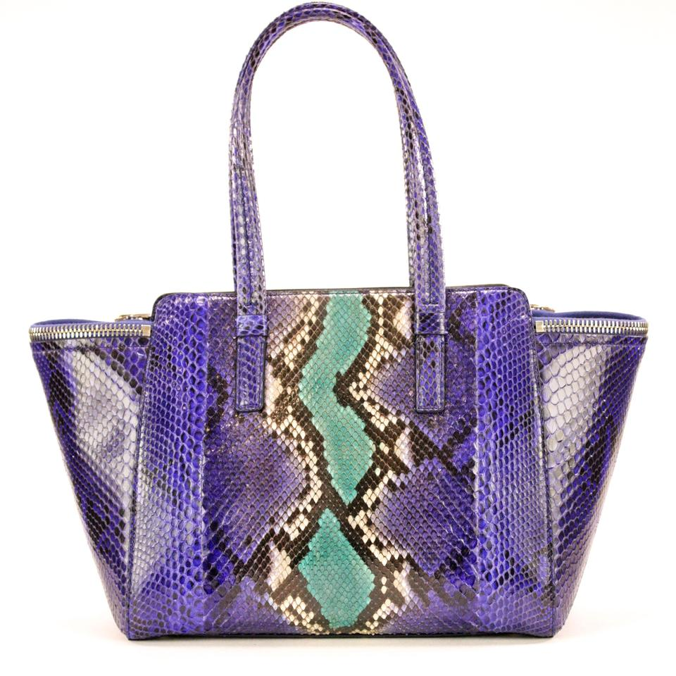 5c4d5e932825 Salvatore Ferragamo Exotic Snake Verve Blue   Multicolor Python Skin  Leather Shoulder Bag