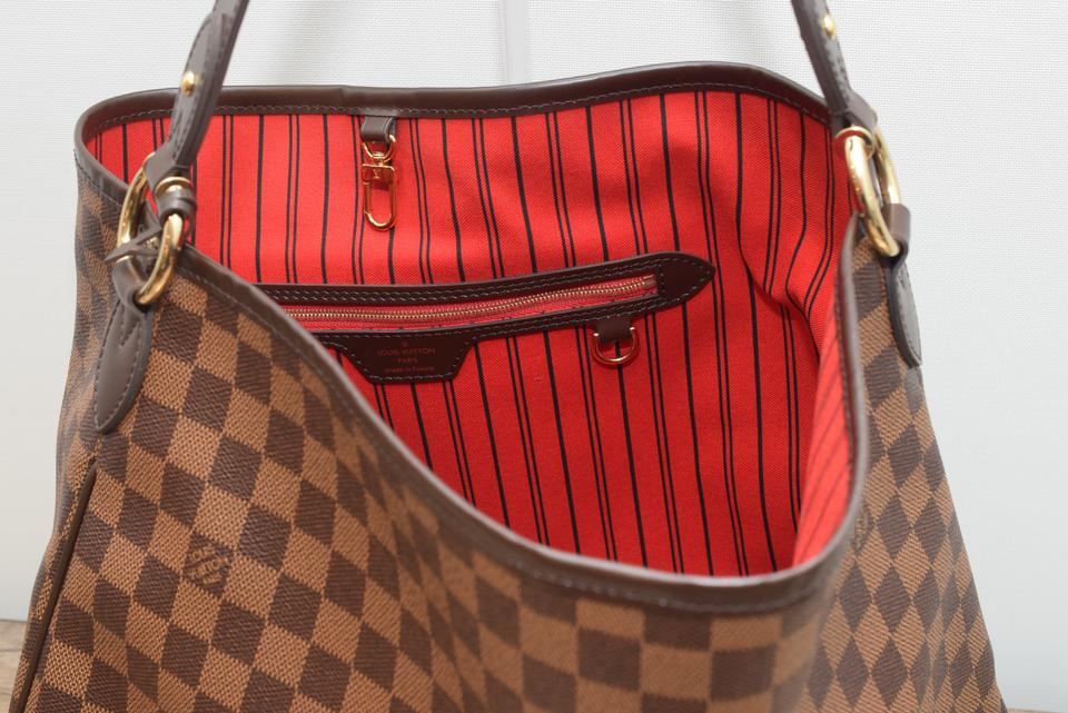 469cbe37803 Louis Vuitton Delightful Mm Lv Delightful Mm Canvas Tote in Damier Ebene  with Cherry lining Image. 1234567891011