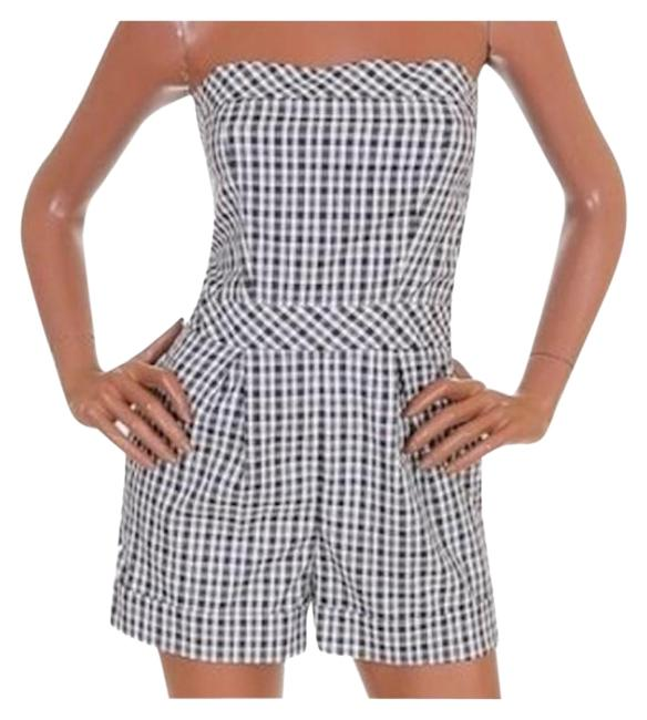 Item - Black White Strapless Plaid Short Onepiece Outfit Romper/Jumpsuit