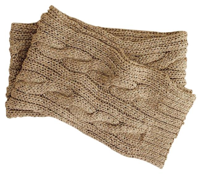 Item - Taupe/Gold Metallic Aran Isle Knit Scarf/Wrap