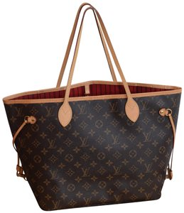 85fe42a11526 Louis Vuitton Lv Neverfull Never Full Mm Never Full Tote in Monogram w RED  textile