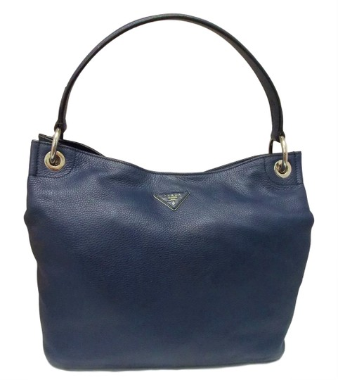 8d1429c239cf Prada Pebbled Viby Dark Blue Leather Hobo Bag - Tradesy