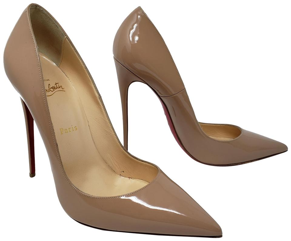 7686821bf09c Christian Louboutin Patent Leather Pointed Toe Pigalle Red Sole So Kate  Beige Pumps Image 0 ...