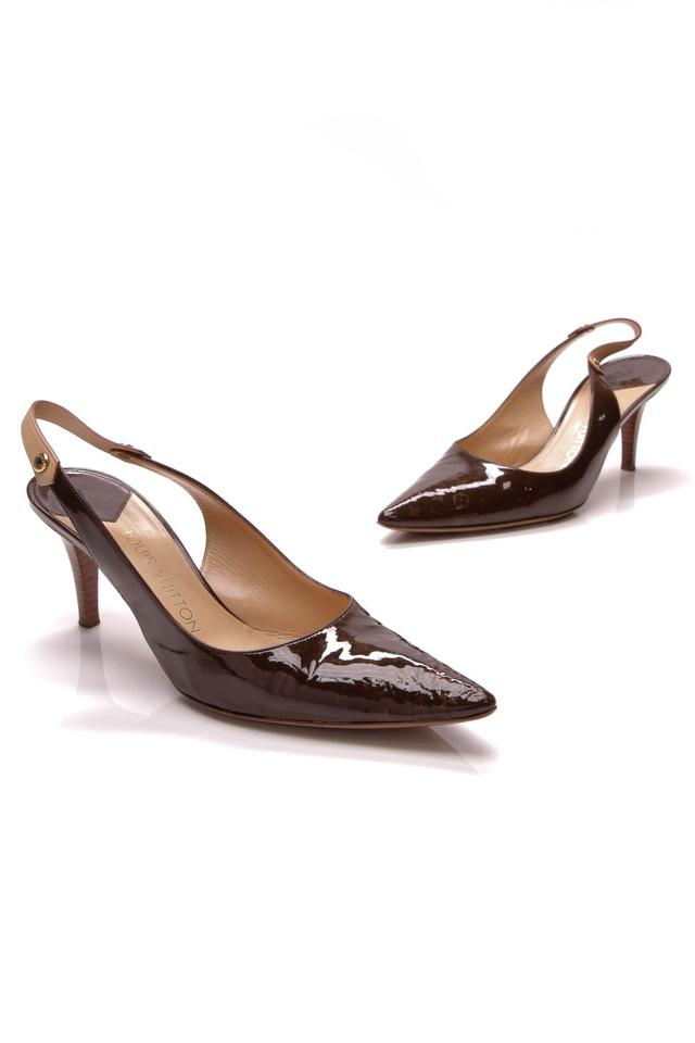 Louis Vuitton Brown Slingback Kitten Heels - Monogram Patent Leather Pumps