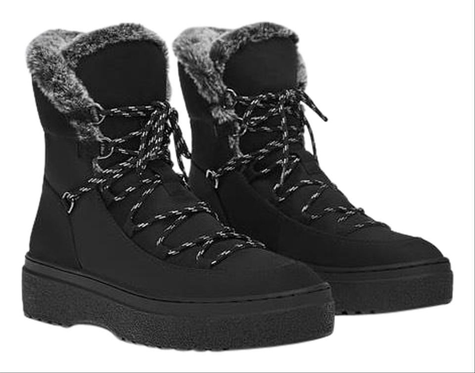 2bb1cd0a0d3f3 Zara Black Grey Thick Sole Fur Lined Winter Hiking Boots/Booties Size US  7.5 Regular (M, B) 10% off retail