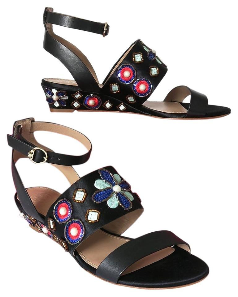 a767118fe Tory Burch Black Estella Beaded Demi-wedge Multi-color Sandals. Size  US 6  ...