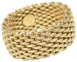 Tiffany & Co. 18K Yellow Gold Somerset WIDE Mesh Band Ring