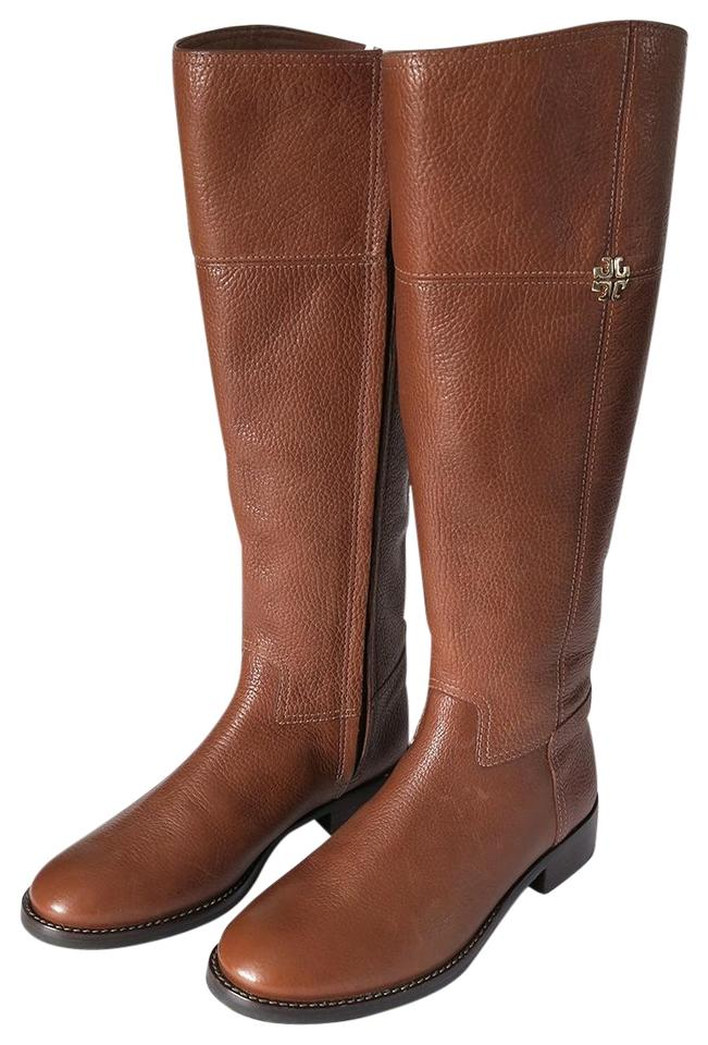 f9eb8a6a715 Tory Burch Brown Jolie Riding Tumbled Leather Rustic Boots Booties ...