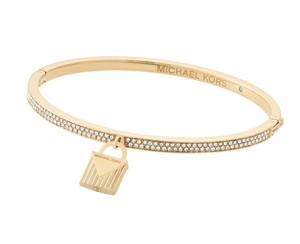 Michael Kors Padlock Charm Logo Pave Hinged Bangle Bracelet