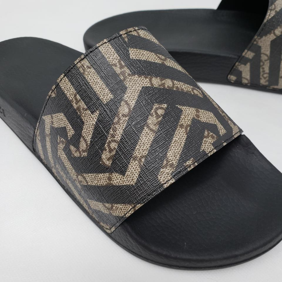 a2219bc33 Gucci Black Beige Gg Monogram Slide Sandals Size EU 40 (Approx. US ...
