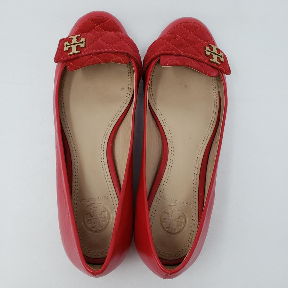 9079a7a59867 Tory Burch Quilted Gold Hardware Reva Miller Ballerina Red Flats Image 11.  123456789101112