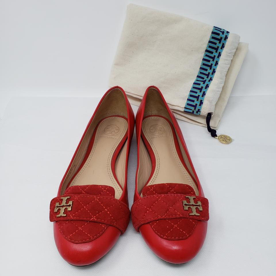 99ed9f06ef05 Tory Burch Red Leather Gold-tone Logo Round-toe Flats Size US 7 Regular (M