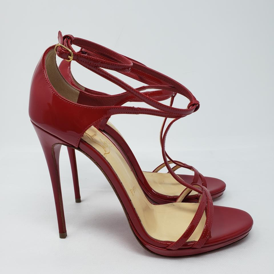 780ab99c747 Christian Louboutin Spike Gold Hardware Patent Leather Ankle Strap Suzanna Red  Sandals Image 11. 123456789101112