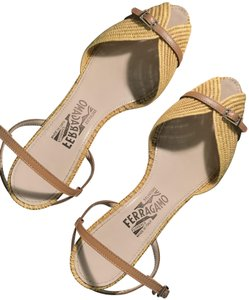 35e1abaf9 Salvatore Ferragamo Woven Leather Sculpted Heels Leather yellow Sandals