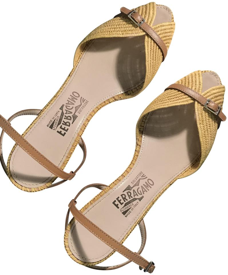 d5d698b5484 Salvatore Ferragamo Woven Leather Sculpted Heels Leather yellow Sandals  Image 0 ...