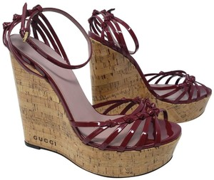 5042d2ffe35d Gucci Cage Gold Hardware Patent Leather Gg Guccissima Red Wedges