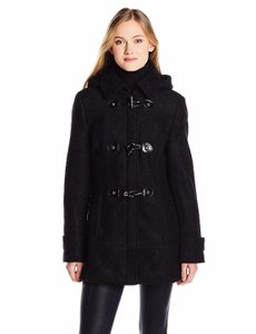 Calvin Klein Toggles Wool Hooded Boucle Classic Pea Coat