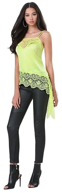Item - Silk Fabric Angled Camisole Adjustable Straps Lace Trim New Sexy Sunny Lime Top