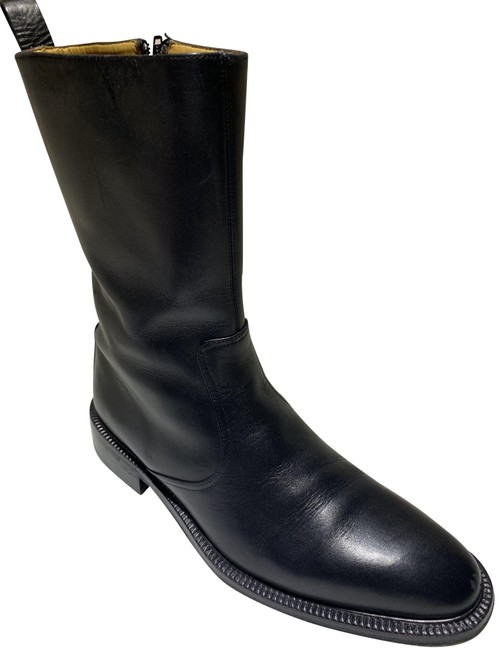 Item - Black Italian Made Quality Leather Mens Boots/Booties Size US 10.5 Wide (C, D)