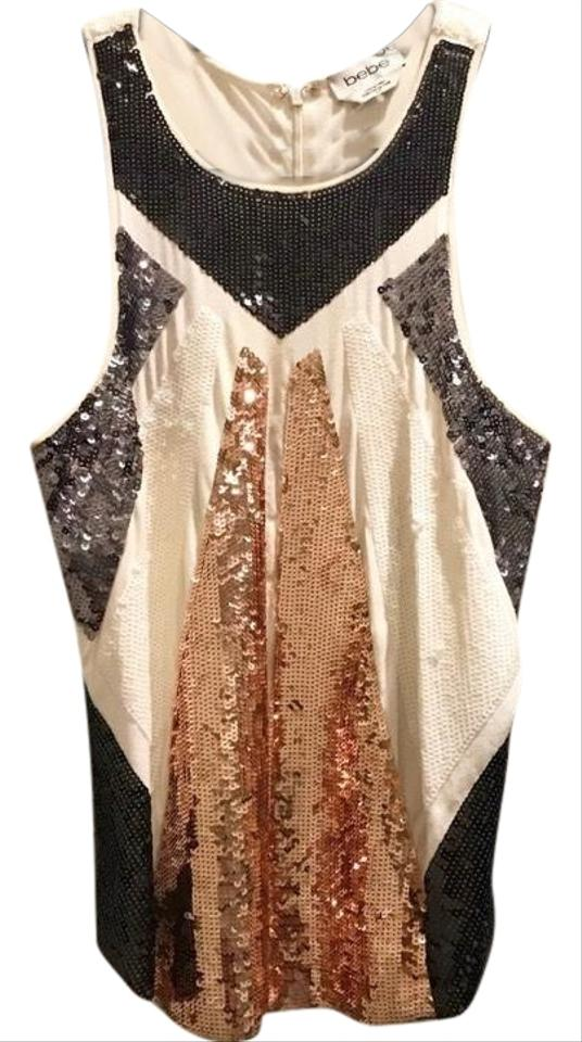 43fe27d4fb06ae bebe White Sequin Silver Sleeveless Club Wear Blouse Size 4 (S ...