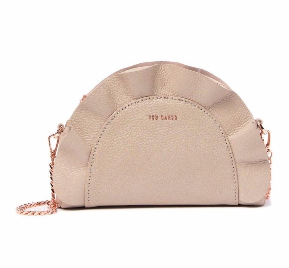 Ted Baker Ruffle Half Moon Taupe Leather Cross Body Bag - Tradesy f23936b6ecc1e