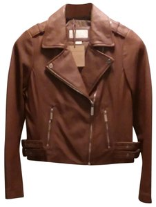 Michael Kors Dark Camel Leather Jacket