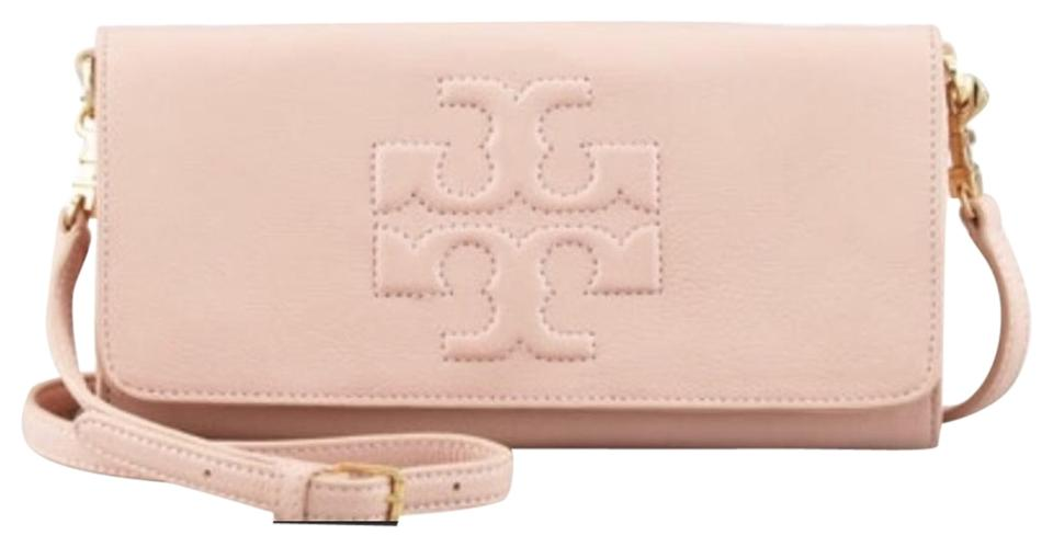 eac166443ec Tory Burch Thea Porcelain Fold Over Pale Pink Leather Cross Body Bag ...