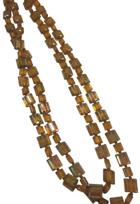 Item - Brown W Amber Germany Beaded Double Strand Necklace
