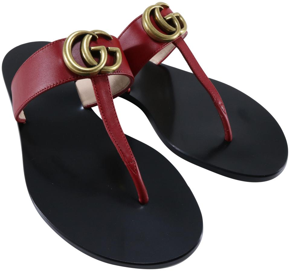 04f91847141 Gucci Red Marmont Lifford Hibiscus Gg Logo T Strap B245 Sandals Size ...