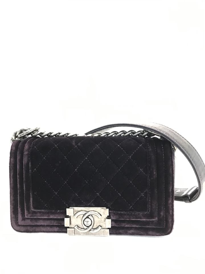469871a09e1f Chanel Boy Quilted Small Flap Purple Velvet Cross Body Bag - Tradesy