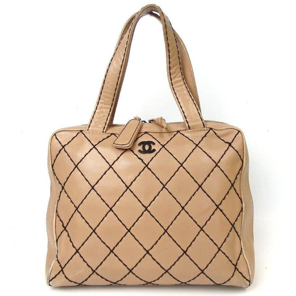 5c174cdddab9 Chanel Quilted Beige Wild Stitch Wild Stitch Quilted Shoulder Bag Image 0  ...