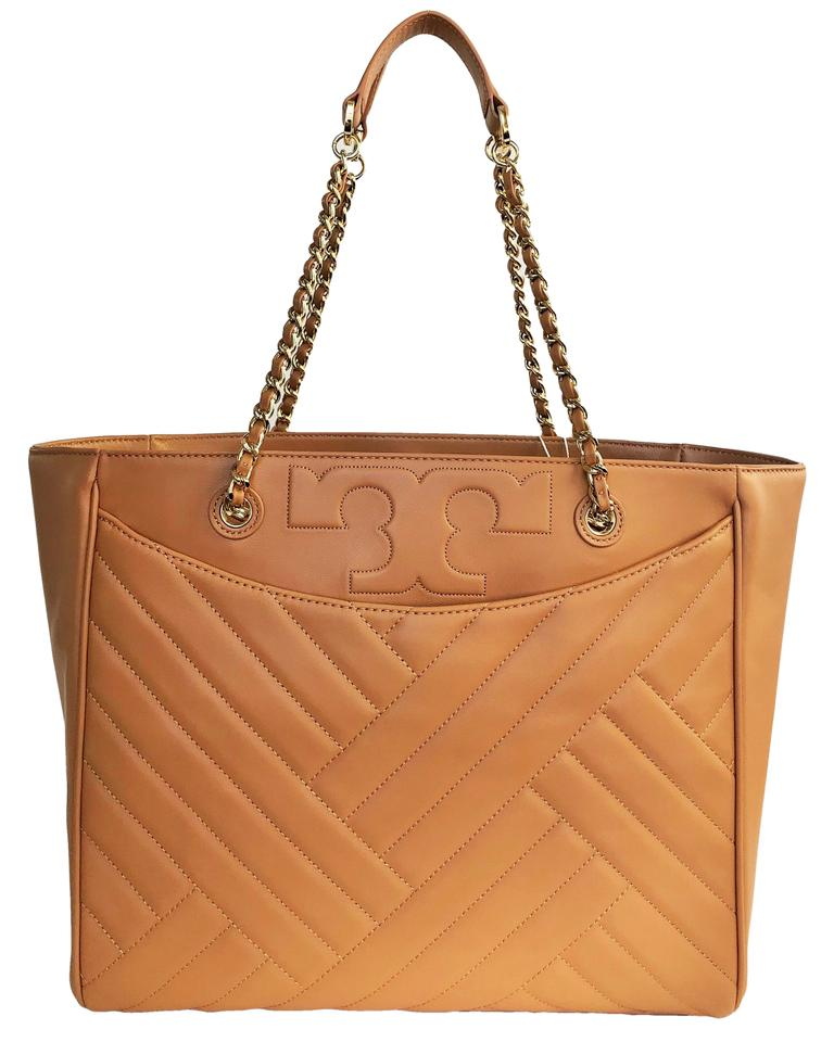 Tory Burch New Quilted Large Purse Shoulder Aged Vachetta Leather ... be19d62b920e0